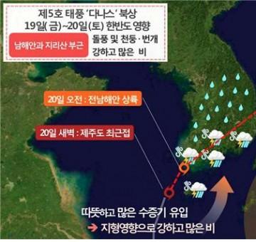 제5호 태풍 '다나스' 현황과 전망
